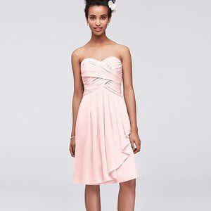 DAVID'S BRIDAL Blush Pink Chiffon Bridesmaid Dress